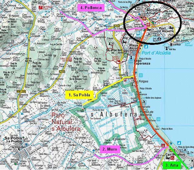 alcudia mallorca karte Mallorca Touren   Da Bodensee Radler alcudia mallorca karte